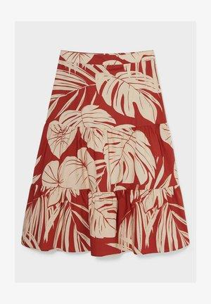 A-line skirt - red/beige