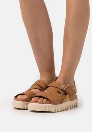 NATIONAL  - Platform sandals - camel
