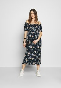 Dorothy Perkins Maternity - MATERNITY FLORAL MILKMAID CRINKLE DRESS - Jersey dress - navy - 1