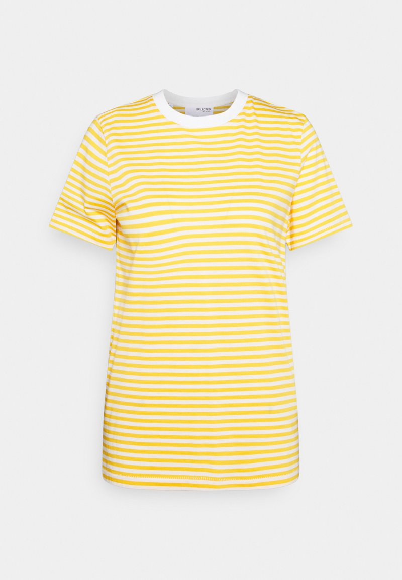 Selected Femme - SLFMY PERFECT SS TEE BOX CUT STR COLOR B - Print T-shirt - citrus/snow white