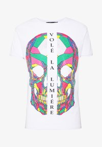 Volé la lumière - RHINESTONE SKULL - Print T-shirt - white - 4