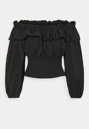 EXCLUSIVE BELLE OFFSHOULDER - Blouse - black