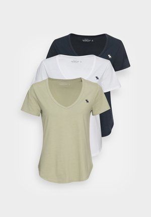 V NECK MULTIPACK - Jednoduché triko - white/seagrass/black