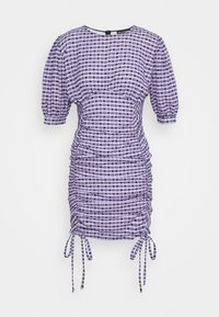 NEW girl ORDER - GINGHAM RUCHED MINI DRESS - Etuikjoler - purple - 0