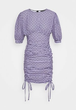 GINGHAM RUCHED MINI DRESS - Robe fourreau - purple