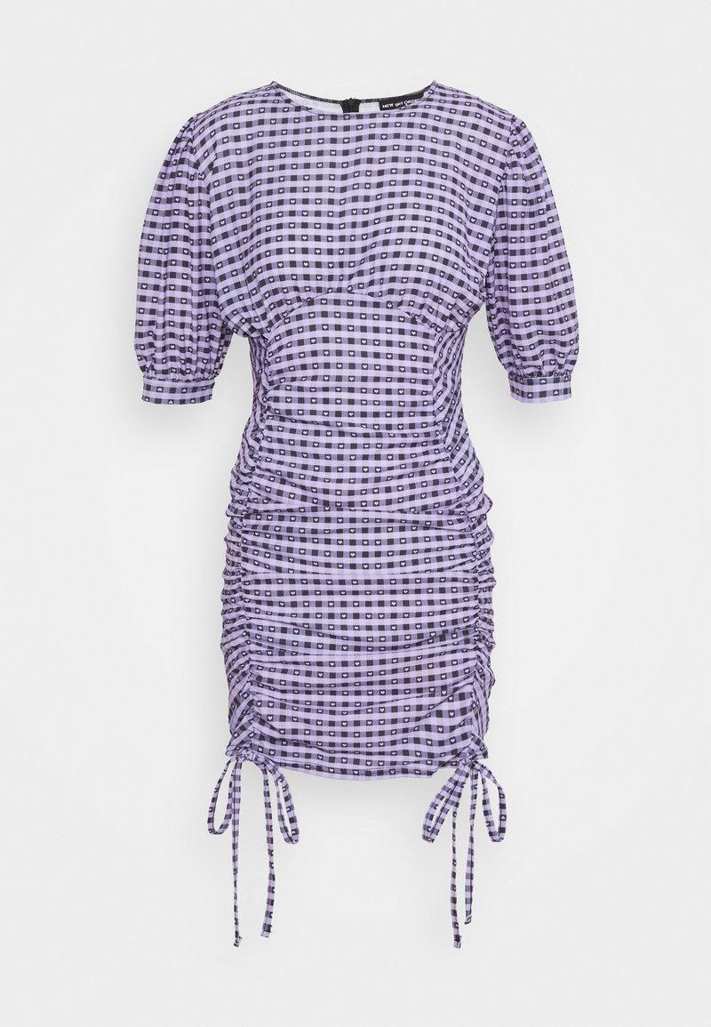 NEW girl ORDER - GINGHAM RUCHED MINI DRESS - Etuikjoler - purple