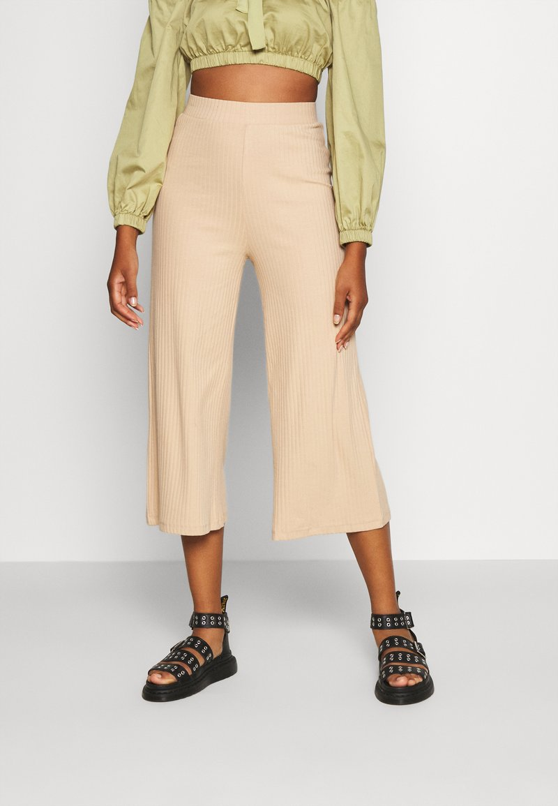Even&Odd - Wide Cropped Pants - Trousers - cuban sand