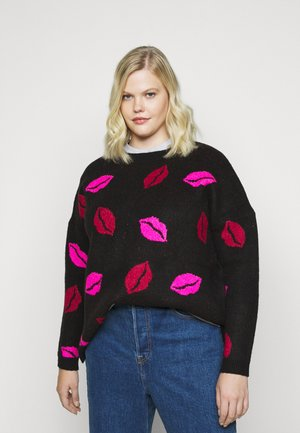 COSY BOYFRIEND JUMPER LIPS - Jumper - black/multi