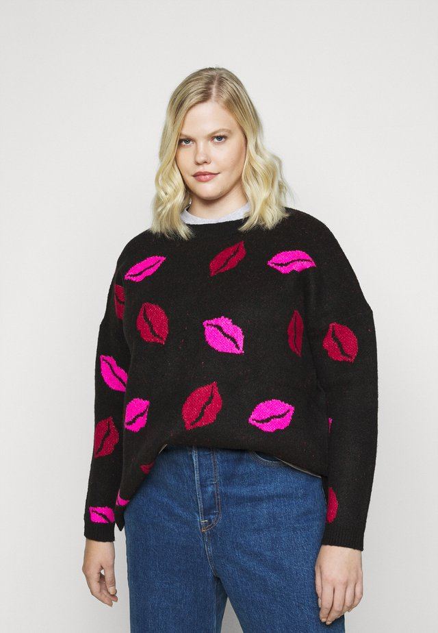 COSY BOYFRIEND JUMPER LIPS - Svetr - black/multi