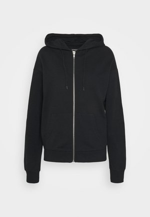 REGULAR FIT ZIP UP HOODIE JACKET - Felpa aperta - black