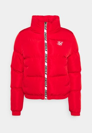 PRINTED TAPE PADDED CROP JACKET - Winter jacket - red