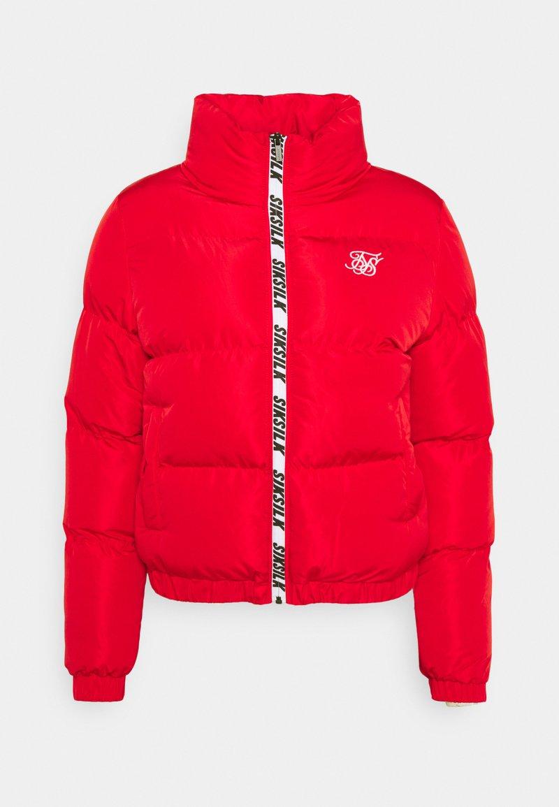 SIKSILK - PRINTED TAPE PADDED CROP JACKET - Winter jacket - red