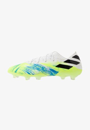 NEMEZIZ 19.1 FG - Moulded stud football boots - footwear white/core black/signal green