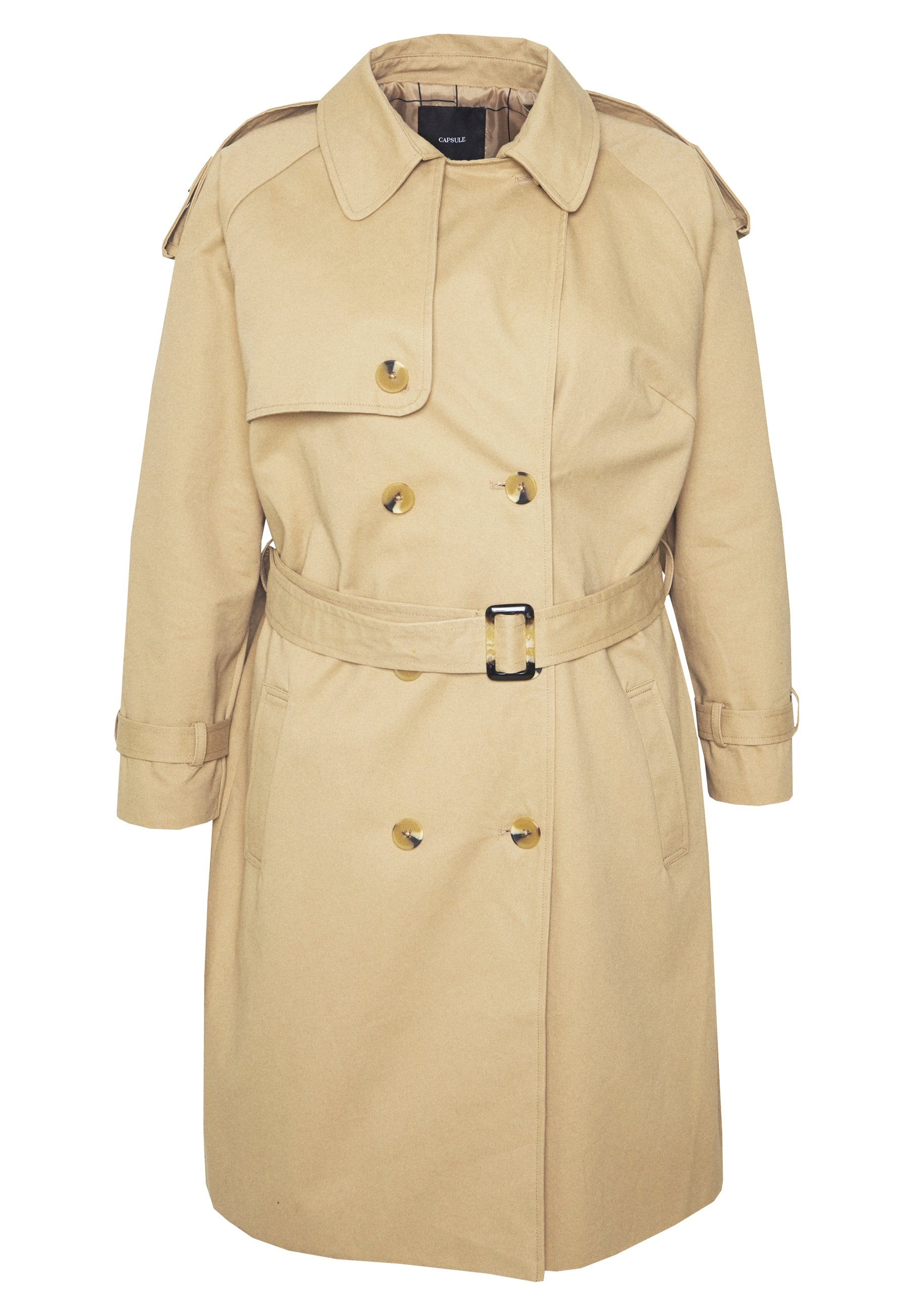 Capsule By Simply Be Longline Double Breasted - Trenchcoat Camel
