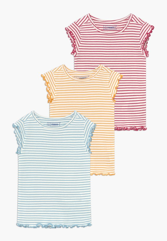 3 PACK - T-shirt basique - red/light blue/yellow