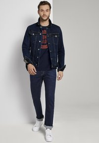 TOM TAILOR - MIT LOGO-PRINT - Long sleeved top - dark blue - 1
