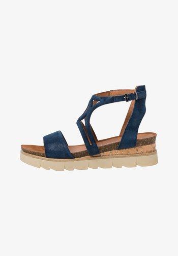 Platform sandals - navy metallic