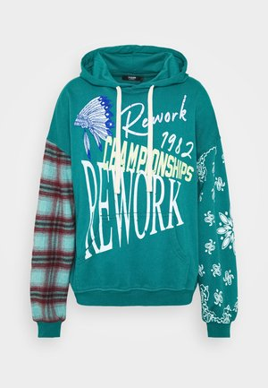 REWORK SCREEN PRINT AND CHECK HOODIE - Luvtröja - green