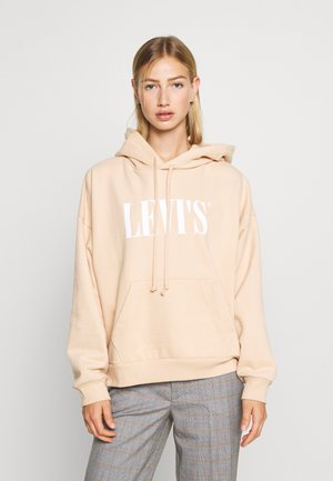 GRAPHIC HOODIE - Huppari - toasted almond