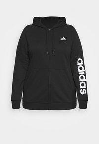 adidas Performance - LINEAR FULL ZIP HD SPORTS ESSENTIALS TRACK TOP HOODIE - Zip-up sweatshirt - black/white - 0