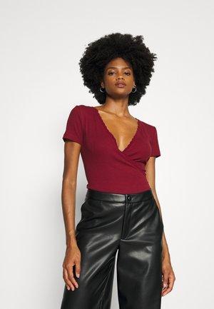 2 PACK - Print T-shirt - black/dark red