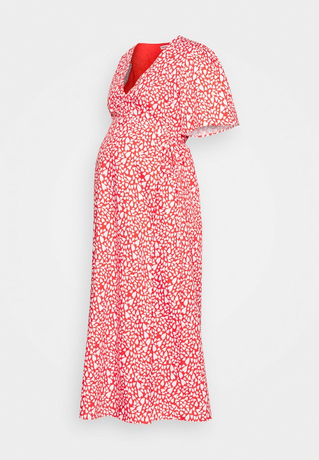 WRAP DRESS - Korte jurk - red/white