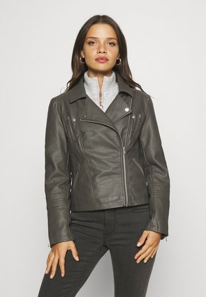 ONLGEMMA BIKER - Faux leather jacket - beluga