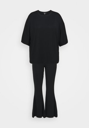 FLARE OVERSIZED SET - Spodnie materiałowe - black