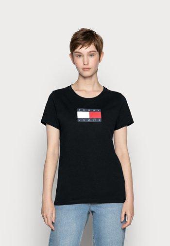METALLIC LOGO TEE - Camiseta estampada - black