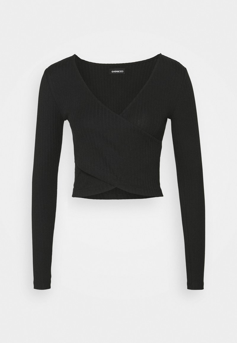 Even&Odd Tall - CROSS FRONT CROP - Topper langermet - black