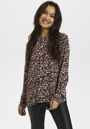 Button-down blouse - rose tones animal print
