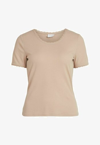 MIT KURZEN ÄRMELN STICKEREI - Print T-shirt - humus