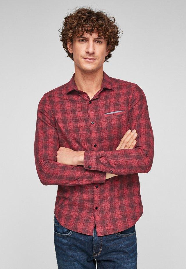 Overhemd - dark red check