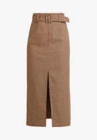 Topshop - CHECK BELTED MIDI - Pouzdrová sukně - brown - 4