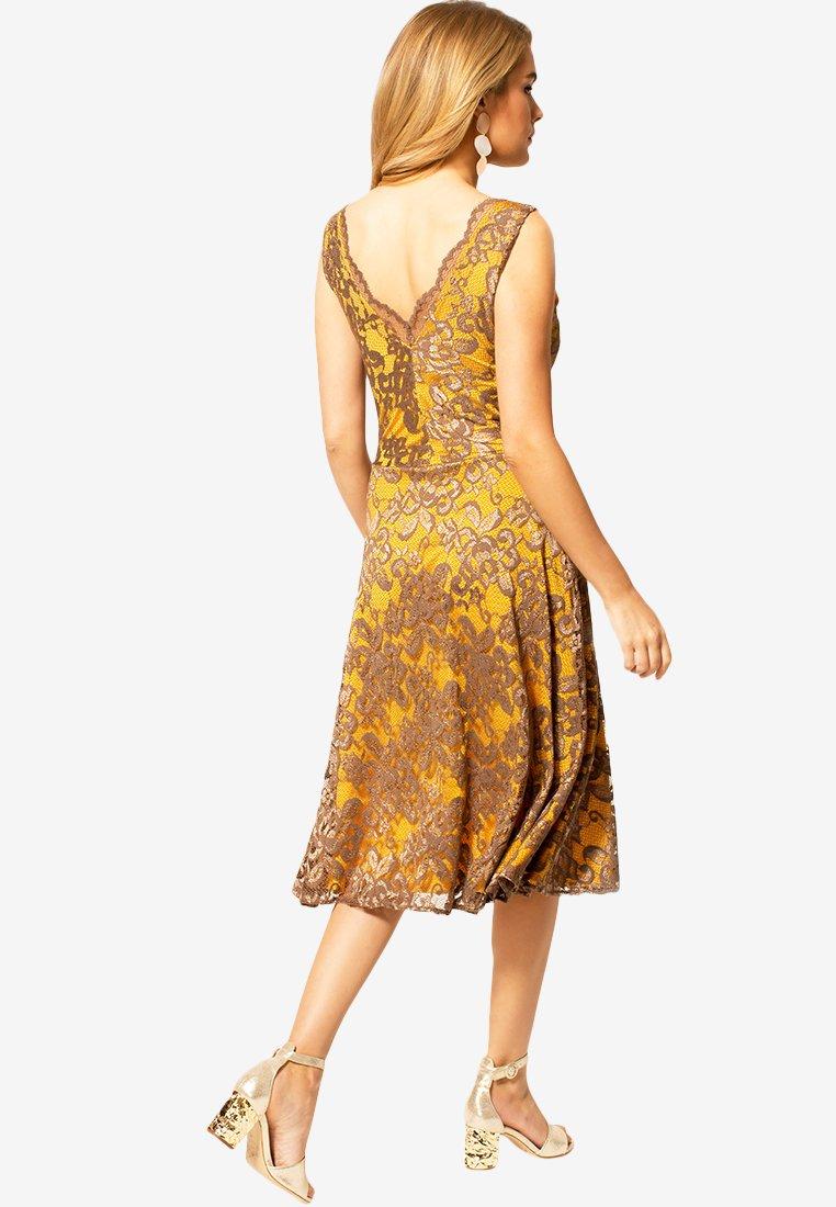 Hotsquash Floral - Robe De Soirée Mustard Brown