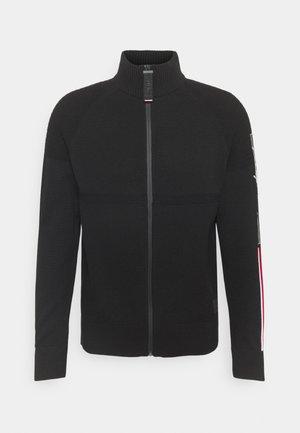 LOGO STRUCTURED ZIP THROUGH - Cardigan - black