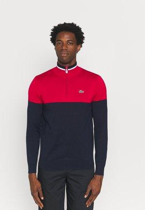 GOLF QUARTER ZIP - Stickad tröja - navy blue/ruby navy/white
