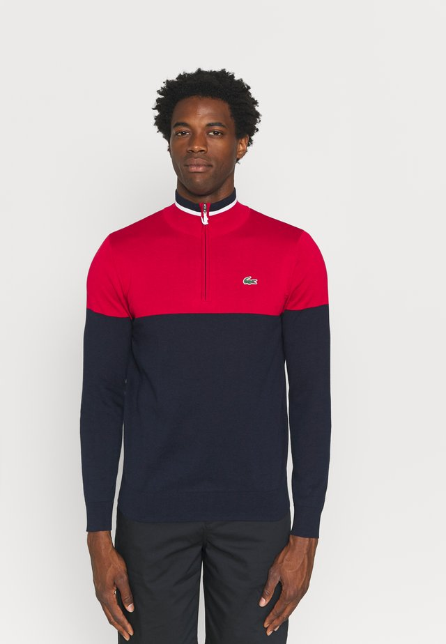 GOLF QUARTER ZIP - Pullover - navy blue/ruby navy/white
