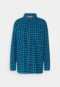 CHECK SHIRT - Button-down blouse - teal