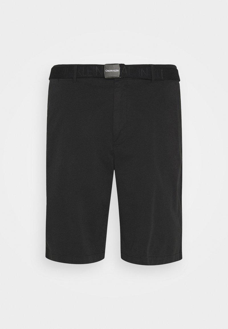 Calvin Klein - GARMENT DYE BELTED - Shorts - black