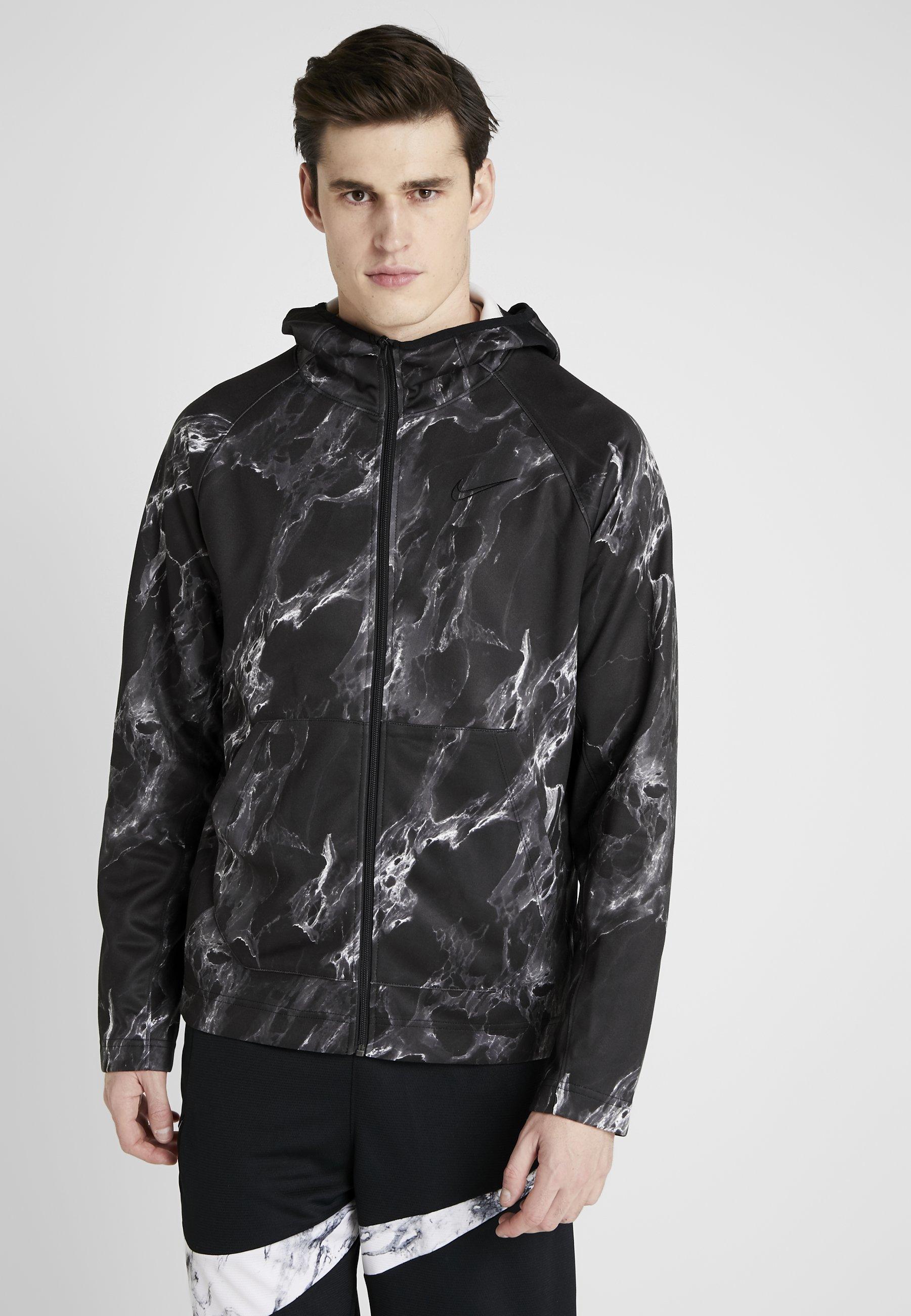Nike Performance Spotlight Hoodie Full Zip Marble Training Jacket Black Black Black Zalando Co Uk