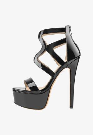 Sandalen met hoge hak - metallic black