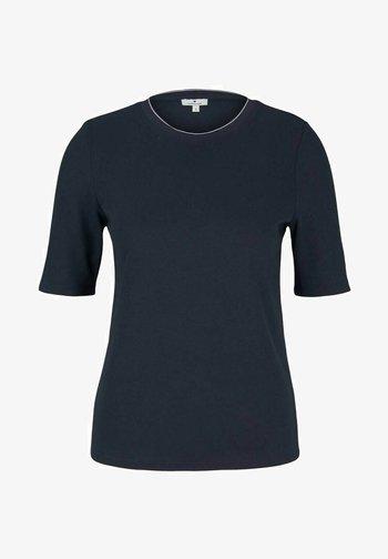 MIT RIPPBÜNDCHEN - Basic T-shirt - sky captain blue