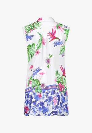 Button-down blouse - weiß-blau-pink-grün