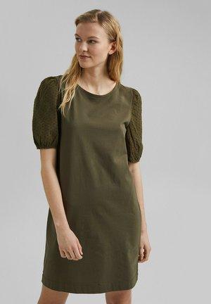 MIT LOCHSPITZE - Jersey dress - khaki green