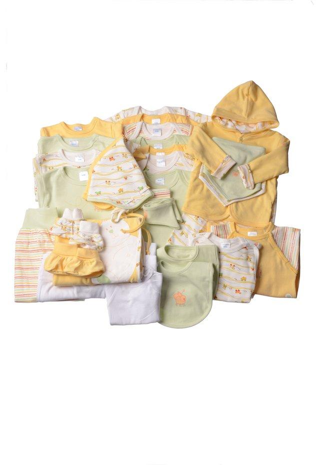32-TEILIGEN SET - Baby gifts - gestreift,weiss mit motivdruck,hellgrün,gelb
