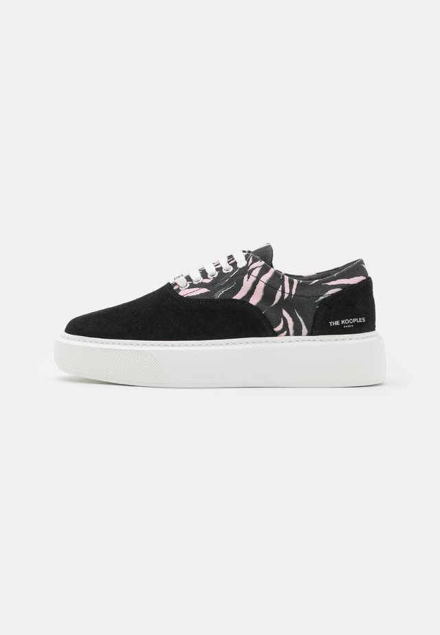 BASKETS DAIM ET TOILE IMPRIMEE - Sneakers laag - black
