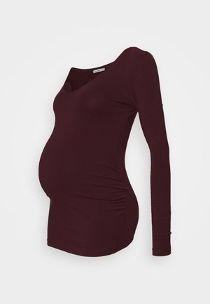 V NECK BASIC LONG SLEEVE TOP - Long sleeved top - bordeaux