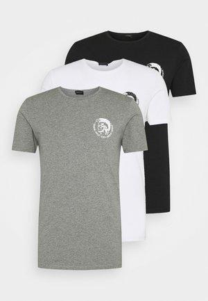 UMTEE RANDAL 3 PACK - T-shirt basic - white/ grey melange/ black
