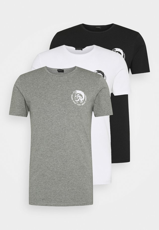 UMTEE RANDAL 3 PACK - T-shirt basic - white/ grey melange/ black
